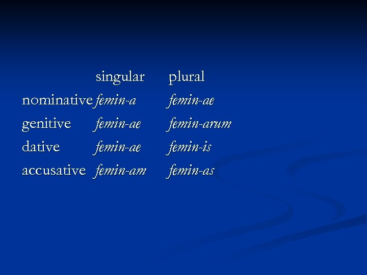 singular nominative femin-a genitive femin-ae dative femin-ae accusative femin-am plural femin-ae femin-arum femin-is femin-as