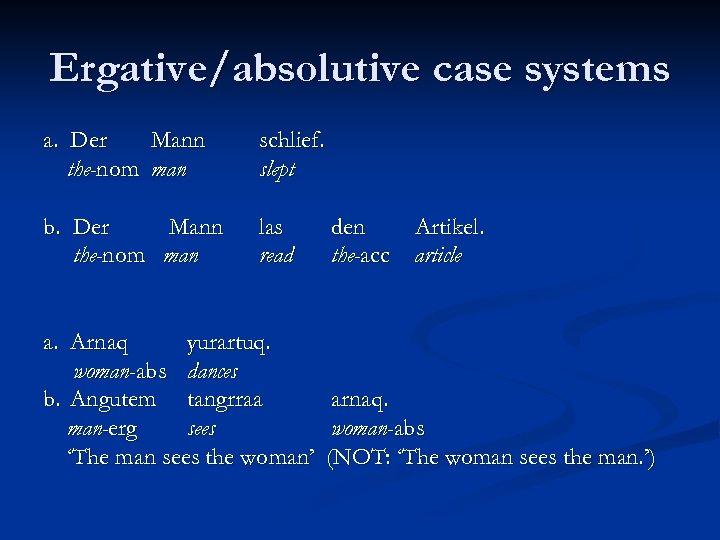 Ergative/absolutive case systems a. Der Mann the-nom man schlief. slept b. Der Mann the-nom