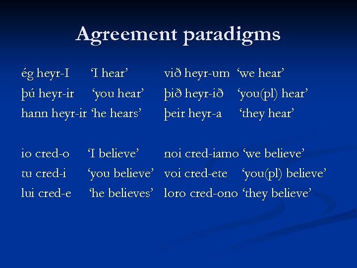 Agreement paradigms ég heyr-I 'I hear' þú heyr-ir 'you hear' hann heyr-ir 'he hears'