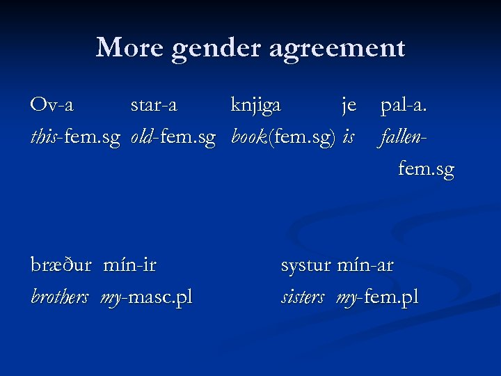 More gender agreement Ov-a star-a knjiga je this-fem. sg old-fem. sg book(fem. sg) is