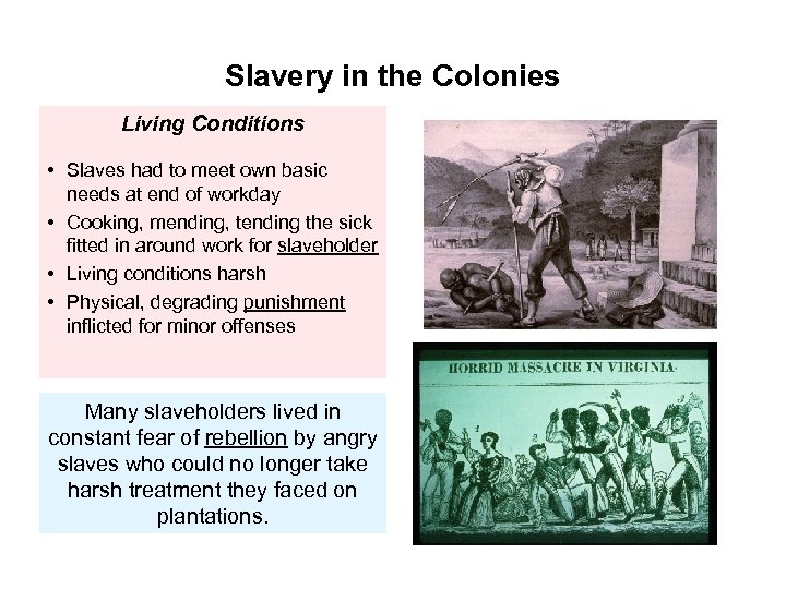 Slavery in the Colonies Living Conditions • Slaves had to meet own basic needs