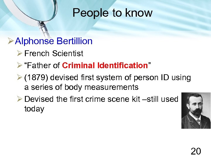 """People to know Alphonse Bertillion French Scientist """"Father of Criminal Identification"""" (1879) devised first"""