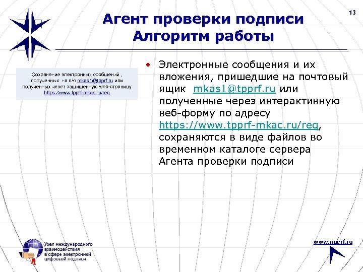 13 Агент проверки подписи Алгоритм работы • Электронные сообщения и их вложения, пришедшие на