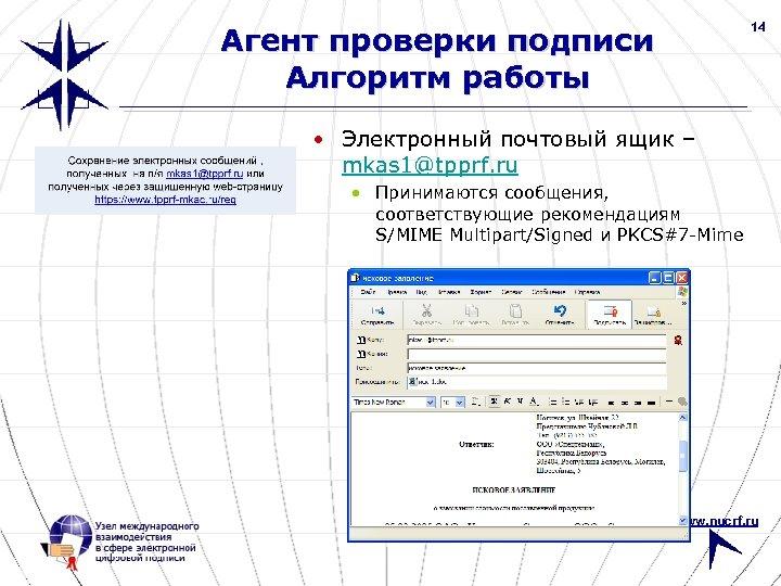 14 Агент проверки подписи Алгоритм работы • Электронный почтовый ящик – mkas 1@tpprf. ru