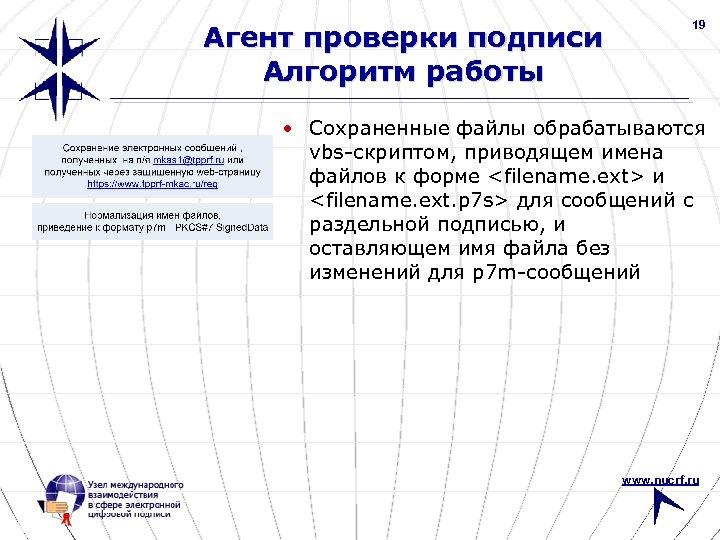 Агент проверки подписи Алгоритм работы 19 • Сохраненные файлы обрабатываются vbs-скриптом, приводящем имена файлов