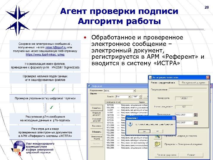 26 Агент проверки подписи Алгоритм работы • Обработанное и проверенное электронное сообщение – электронный