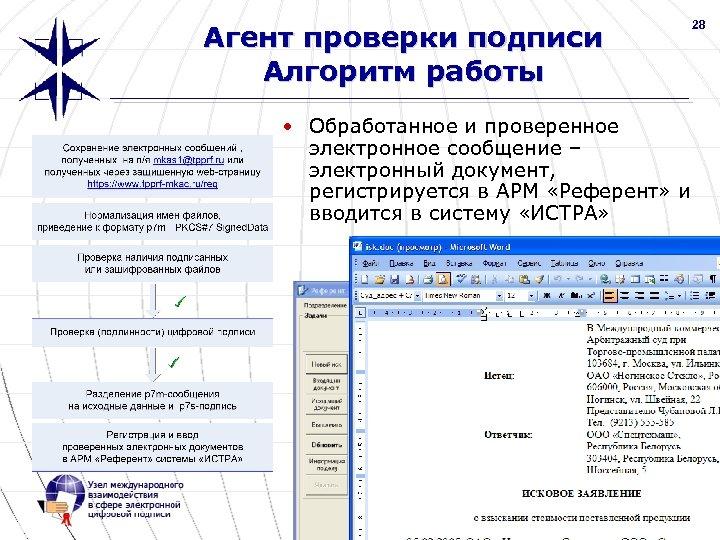 28 Агент проверки подписи Алгоритм работы • Обработанное и проверенное электронное сообщение – электронный