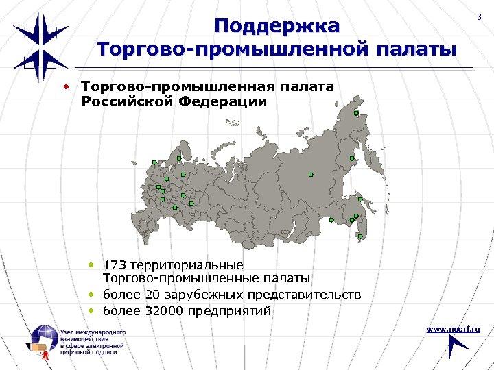 Поддержка Торгово-промышленной палаты 3 • Торгово-промышленная палата Российской Федерации • 173 территориальные Торгово-промышленные палаты