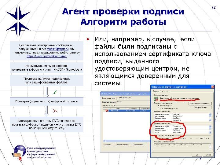 32 Агент проверки подписи Алгоритм работы • Или, например, в случае, если файлы были