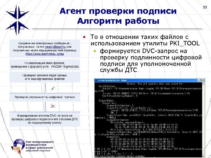 33 Агент проверки подписи Алгоритм работы • То в отношении таких файлов с использованием
