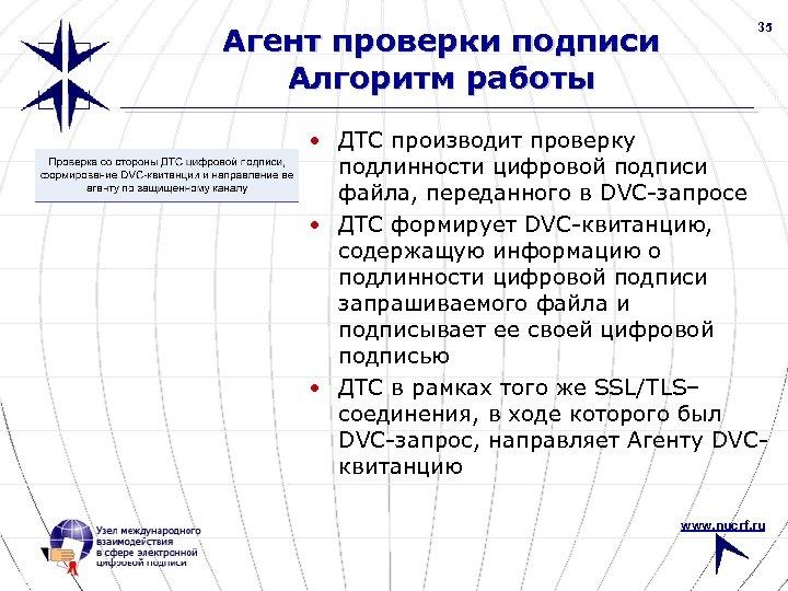 Агент проверки подписи Алгоритм работы 35 • ДТС производит проверку подлинности цифровой подписи файла,