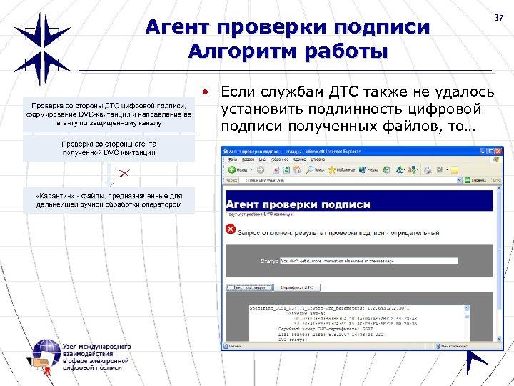 37 Агент проверки подписи Алгоритм работы • Если службам ДТС также не удалось установить