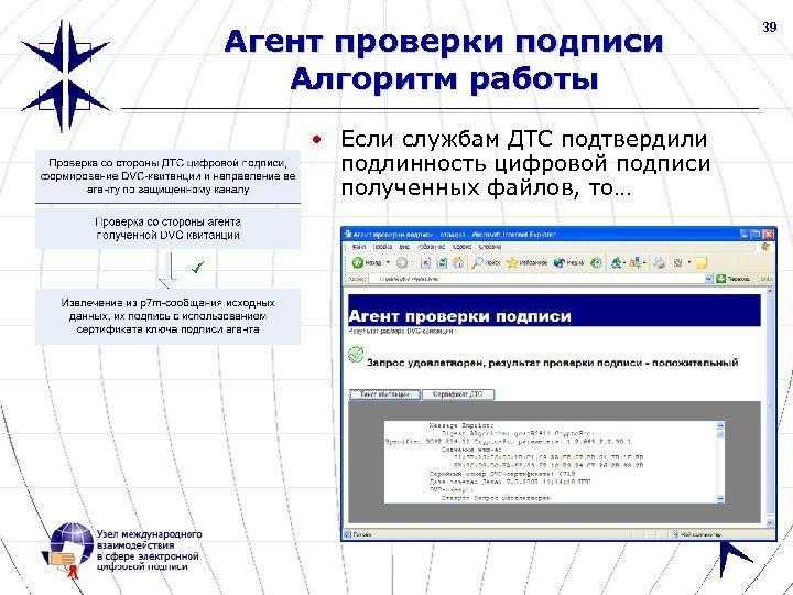 39 Агент проверки подписи Алгоритм работы • Если службам ДТС подтвердили подлинность цифровой подписи