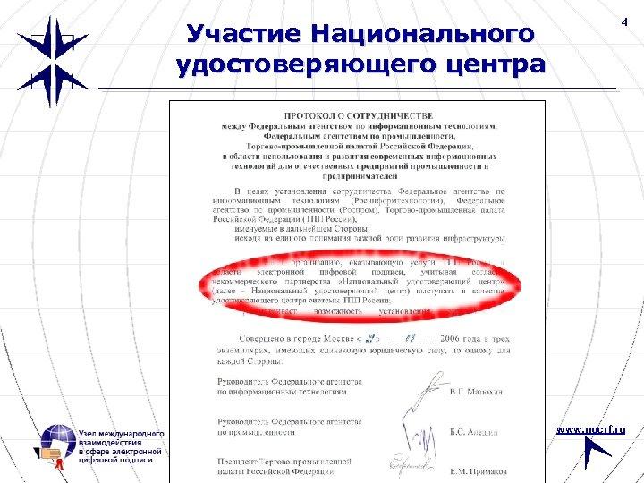 Участие Национального удостоверяющего центра 4 www. nucrf. ru