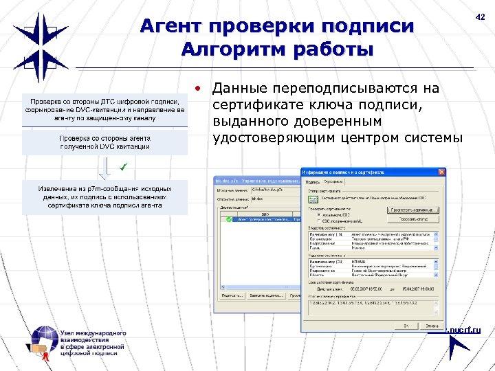 42 Агент проверки подписи Алгоритм работы • Данные переподписываются на сертификате ключа подписи, выданного