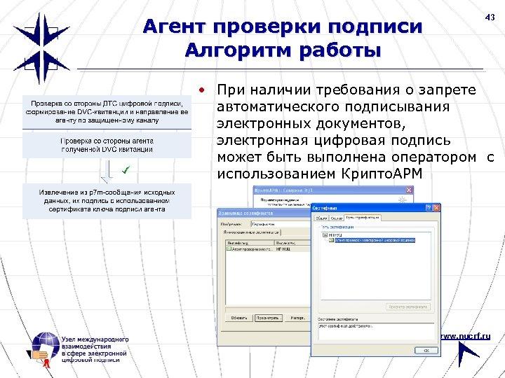 Агент проверки подписи Алгоритм работы 43 • При наличии требования о запрете автоматического подписывания