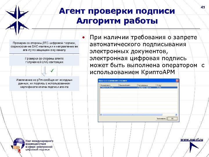 Агент проверки подписи Алгоритм работы 45 • При наличии требования о запрете автоматического подписывания