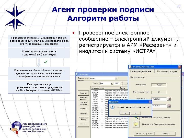 Агент проверки подписи Алгоритм работы 46 • Проверенное электронное сообщение – электронный документ, регистрируется