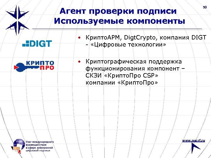 Агент проверки подписи Используемые компоненты 50 • Крипто. АРМ, Digt. Crypto, компания DIGT -