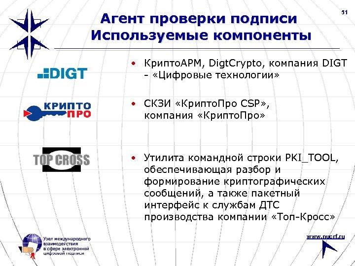 Агент проверки подписи Используемые компоненты 51 • Крипто. АРМ, Digt. Crypto, компания DIGT -