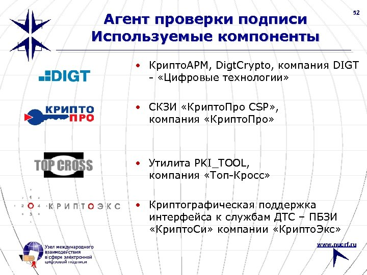 Агент проверки подписи Используемые компоненты 52 • Крипто. АРМ, Digt. Crypto, компания DIGT -