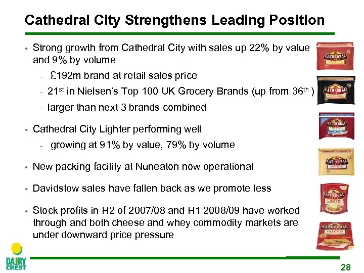 Cathedral City Strengthens Leading Position • Strong growth from Cathedral City with sales up