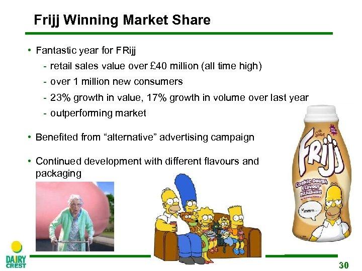 Frijj Winning Market Share • Fantastic year for FRijj - retail sales value over