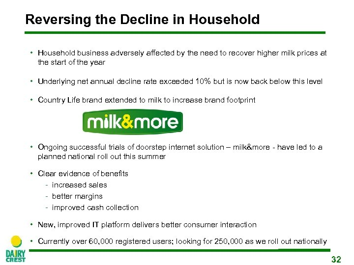 Reversing the Decline in Household • Household business adversely affected by the need to