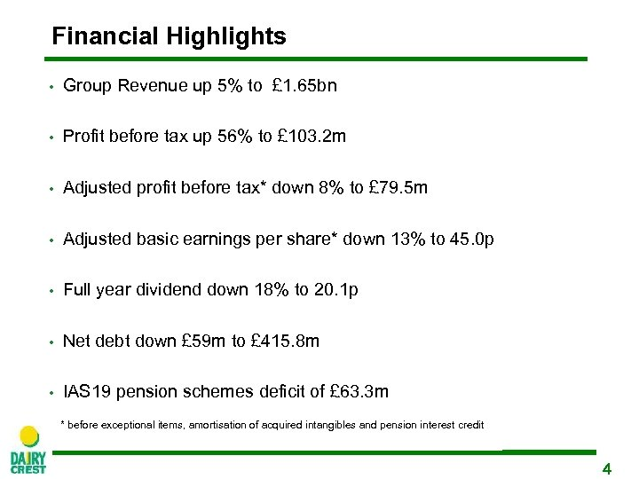 Financial Highlights • Group Revenue up 5% to £ 1. 65 bn • Profit