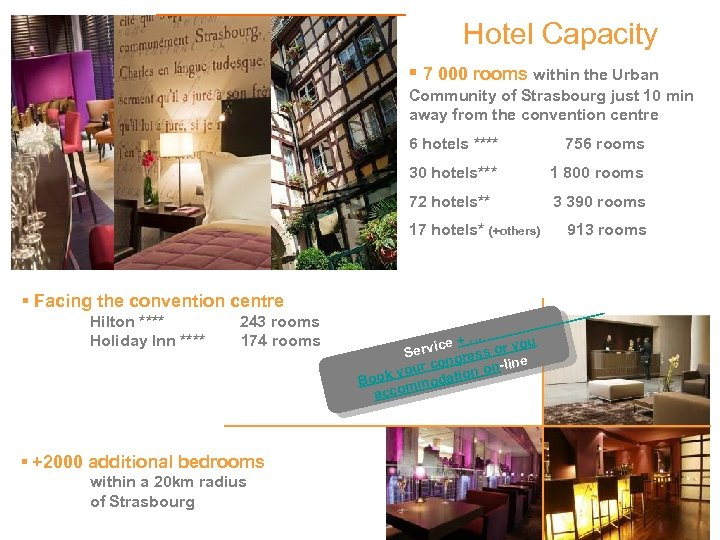 Hotel Capacity ▪ 7 000 rooms within the Urban Community of Strasbourg just 10