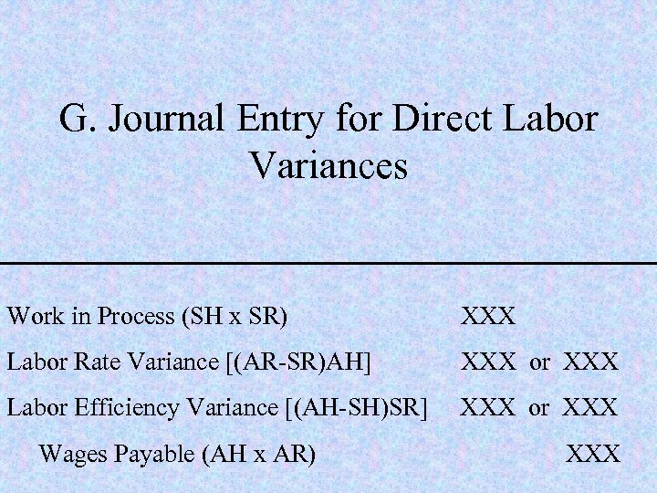 G. Journal Entry for Direct Labor Variances Work in Process (SH x SR) XXX