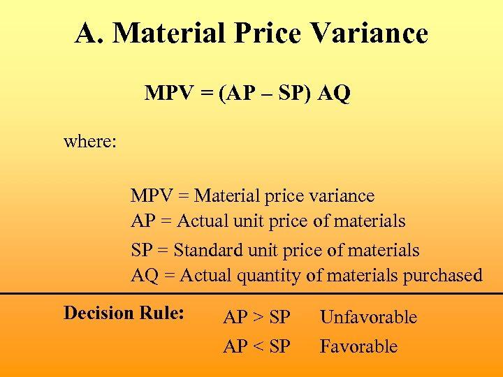 A. Material Price Variance MPV = (AP – SP) AQ where: MPV = Material