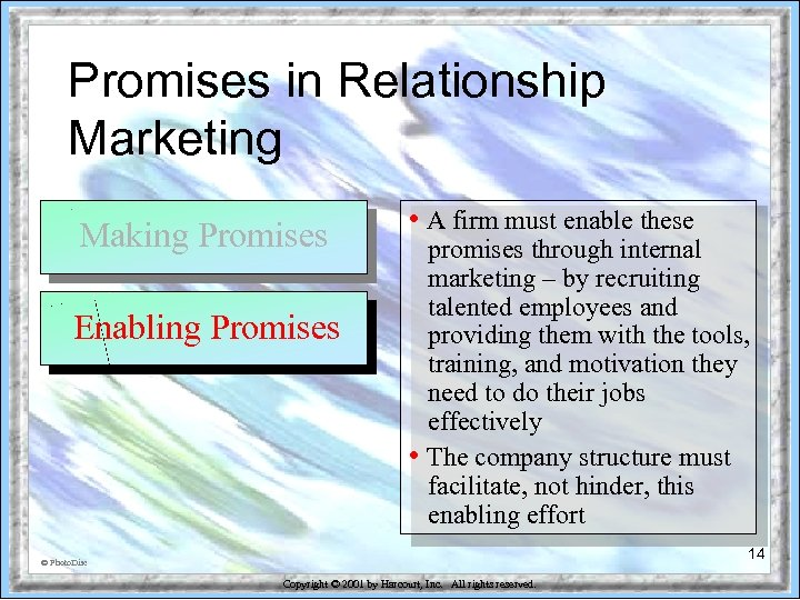 Promises in Relationship Marketing Making Promises Enabling Promises • A firm must enable these