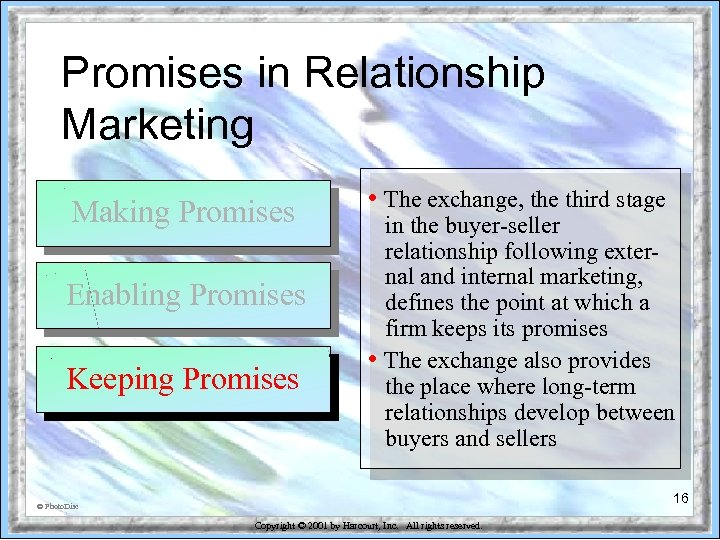 Promises in Relationship Marketing Making Promises Enabling Promises Keeping Promises • The exchange, the
