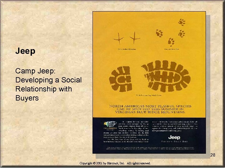 Jeep Camp Jeep: Developing a Social Relationship with Buyers 28 Copyright © 2001 by