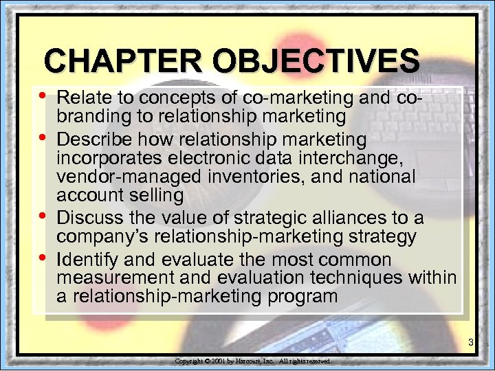 CHAPTER OBJECTIVES • • Relate to concepts of co-marketing and cobranding to relationship marketing