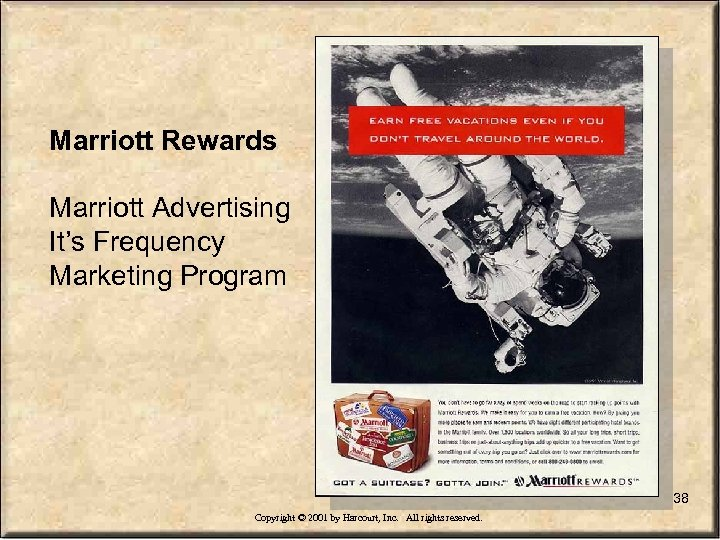 Marriott Rewards Marriott Advertising It's Frequency Marketing Program 38 Copyright © 2001 by Harcourt,