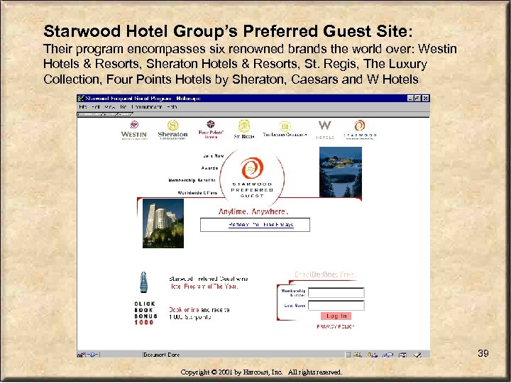 Starwood Hotel Group's Preferred Guest Site: Their program encompasses six renowned brands the world