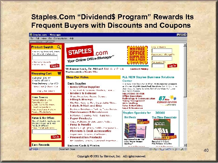 "Staples. Com ""Dividend$ Program"" Rewards Its Frequent Buyers with Discounts and Coupons 40 Copyright"
