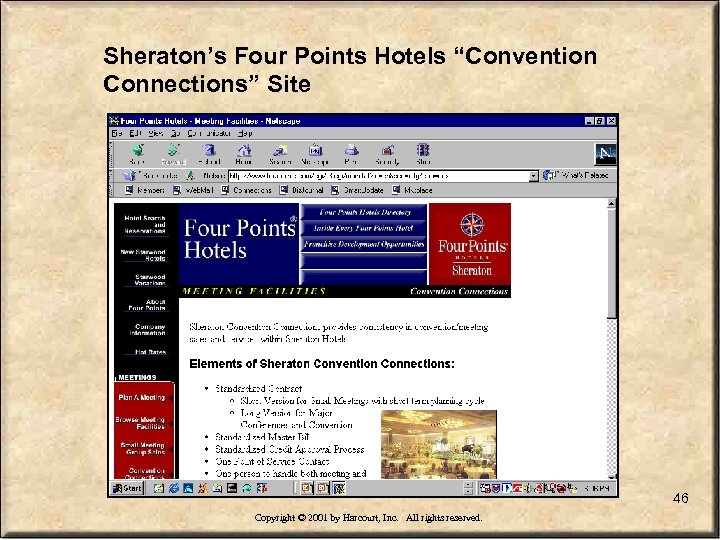 "Sheraton's Four Points Hotels ""Convention Connections"" Site 46 Copyright © 2001 by Harcourt, Inc."