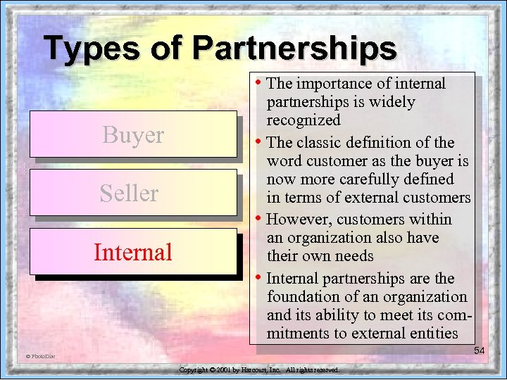Types of Partnerships • The importance of internal Buyer Seller Internal partnerships is widely