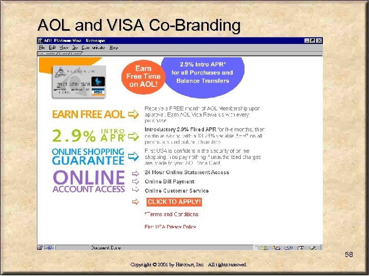 AOL and VISA Co-Branding 58 Copyright © 2001 by Harcourt, Inc. All rights reserved.