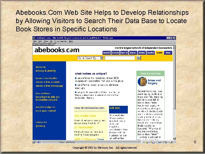 Abebooks. Com Web Site Helps to Develop Relationships by Allowing Visitors to Search Their