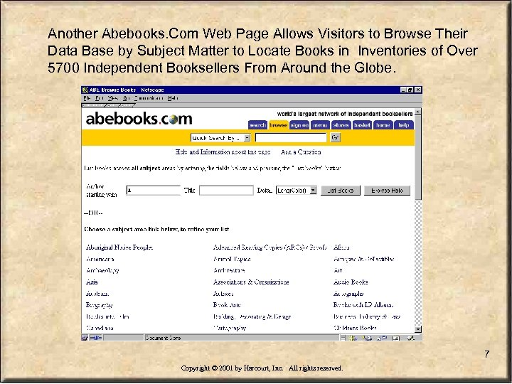 Another Abebooks. Com Web Page Allows Visitors to Browse Their Data Base by Subject