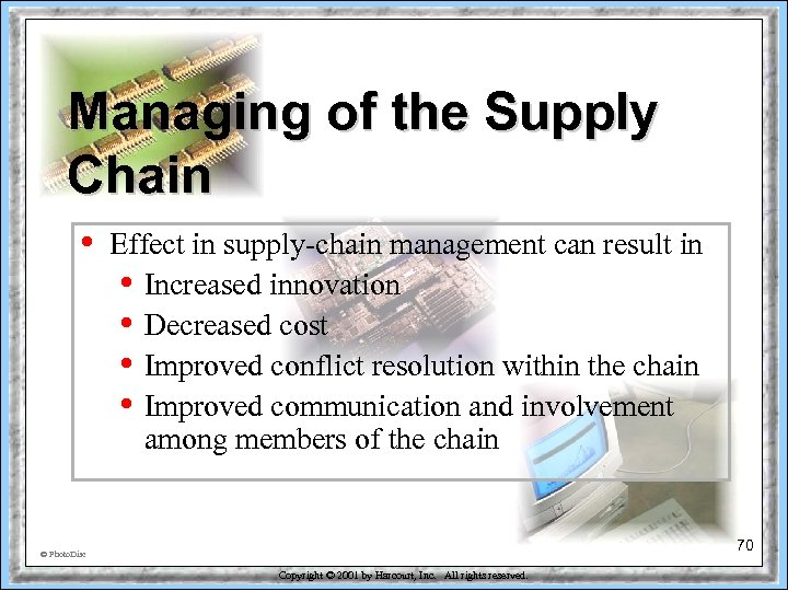 Managing of the Supply Chain • Effect in supply-chain management can result in •