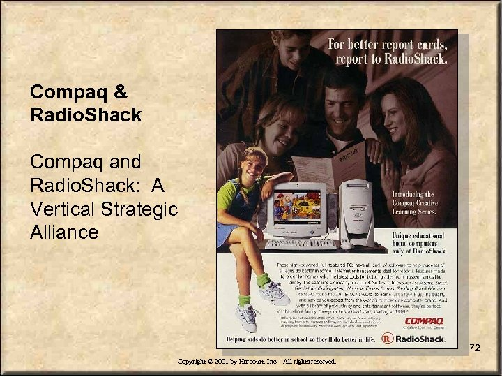 Compaq & Radio. Shack Compaq and Radio. Shack: A Vertical Strategic Alliance 72 Copyright