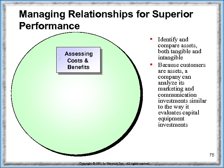 Managing Relationships for Superior Performance • Assessing Costs & Benefits • Identify and compare