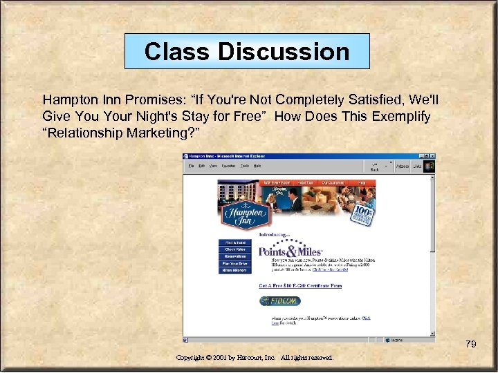 "Class Discussion Hampton Inn Promises: ""If You're Not Completely Satisfied, We'll Give Your Night's"