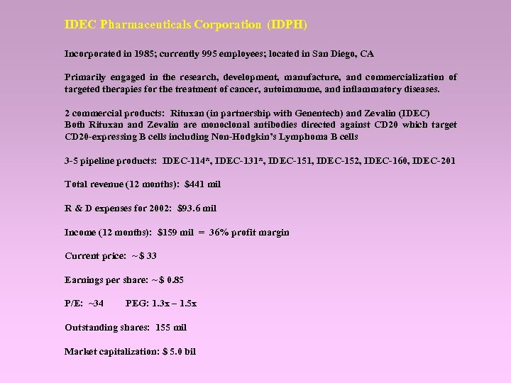 IDEC Pharmaceuticals Corporation (IDPH) Incorporated in 1985; currently 995 employees; located in San Diego,