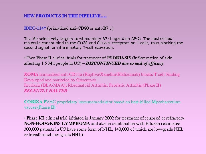 NEW PRODUCTS IN THE PIPELINE…. IDEC-114* (primatized anti-CD 80 or anti-B 7. 1) This